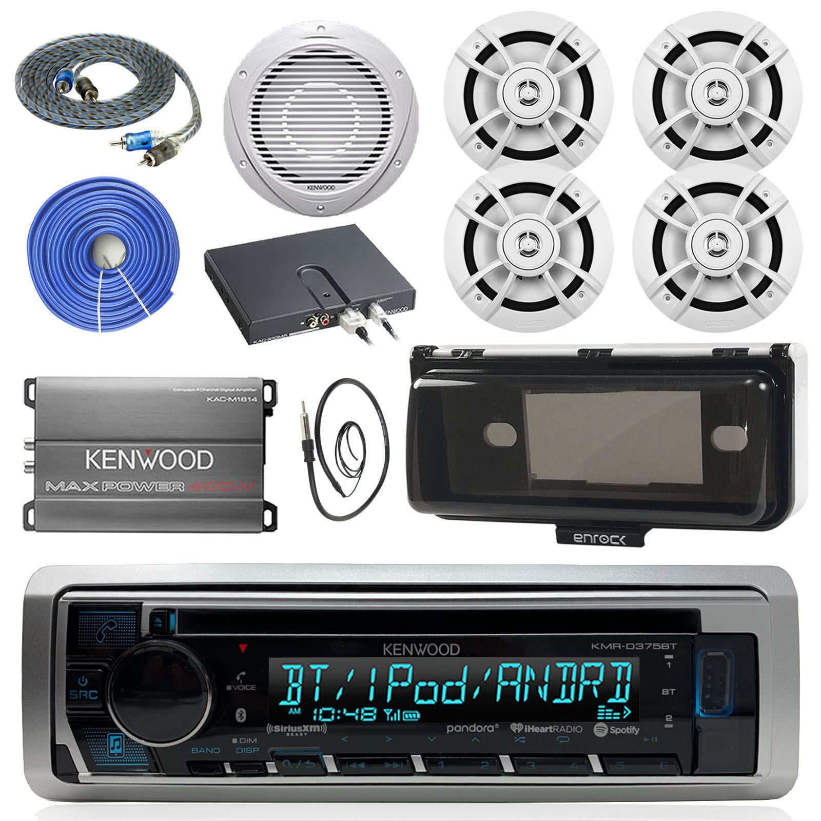 """Enrock Marine  Stereo AUX iPod Radio Cover 6 x 4/"""" White Speakers 400W Amplifier"""