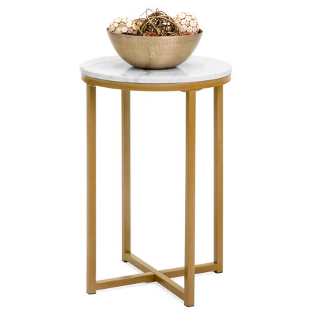 Best Choice Products 16in Modern Living Room Round Side End Coffee Table Nightstand W Faux Marble Top White Bronze Gold