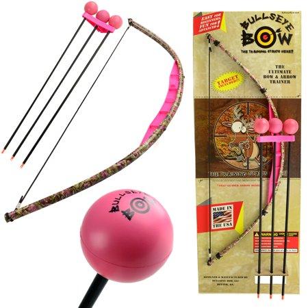 Kids Bow and Arrow Set Beginner Archery Toy Bullseye Pink Camo Training Kit Foam Tip