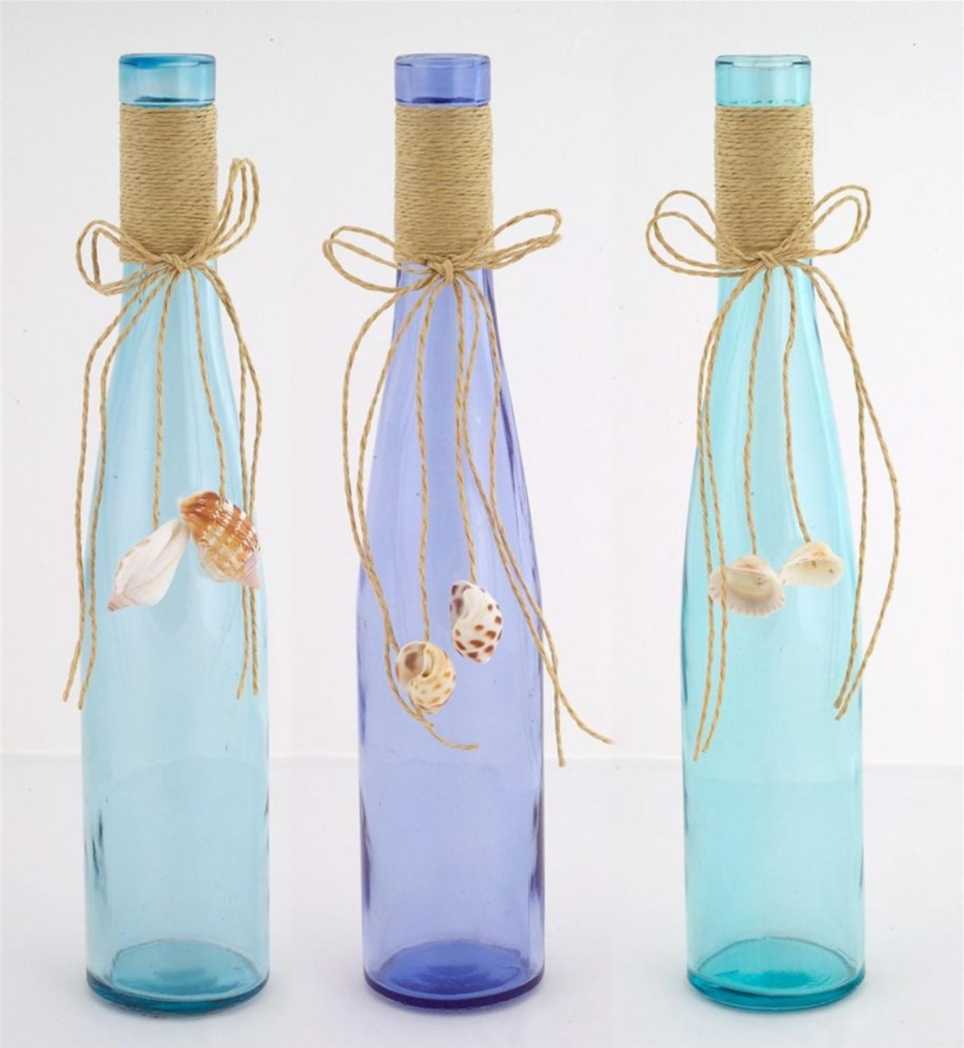 "Club Pack of 12 Beach Inspired Decorative Burlap and Seashell Bottles 11.75"" by Melrose"