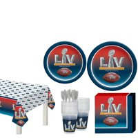 Party City Super Bowl Tableware Supplies for 18 Guests, Include Plates, Napkins, Cups, Utensils, and a Table Cover