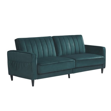 """Mid Century Modern Sofa Bed, 3 Seater Sectional Sofa with Side Pockets, Premium Velvet and Wooden Legs Recliner Sofa Living Room Bedroom Furniture for Small Space, 70.8""""x31.5""""x41.7"""", Green, Q6307"""
