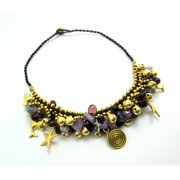 WNK International SAB2104 Goldtone Amethyst and Bead Necklace and Bracelet Set