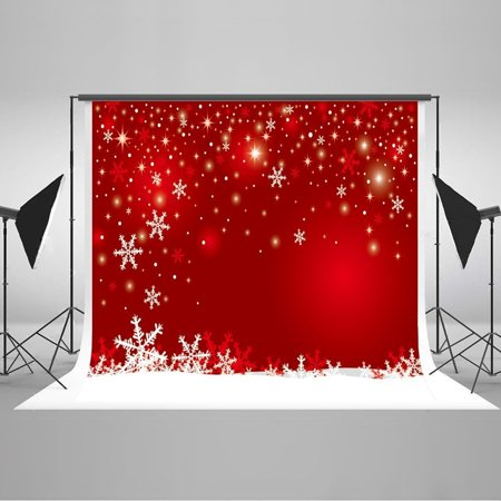 - HelloDecor Polyster Photography Background Thanksgiving 7x5ft Red Christmas White Snowflower Photography Backdrop Holiday Xmas Party Photobooth