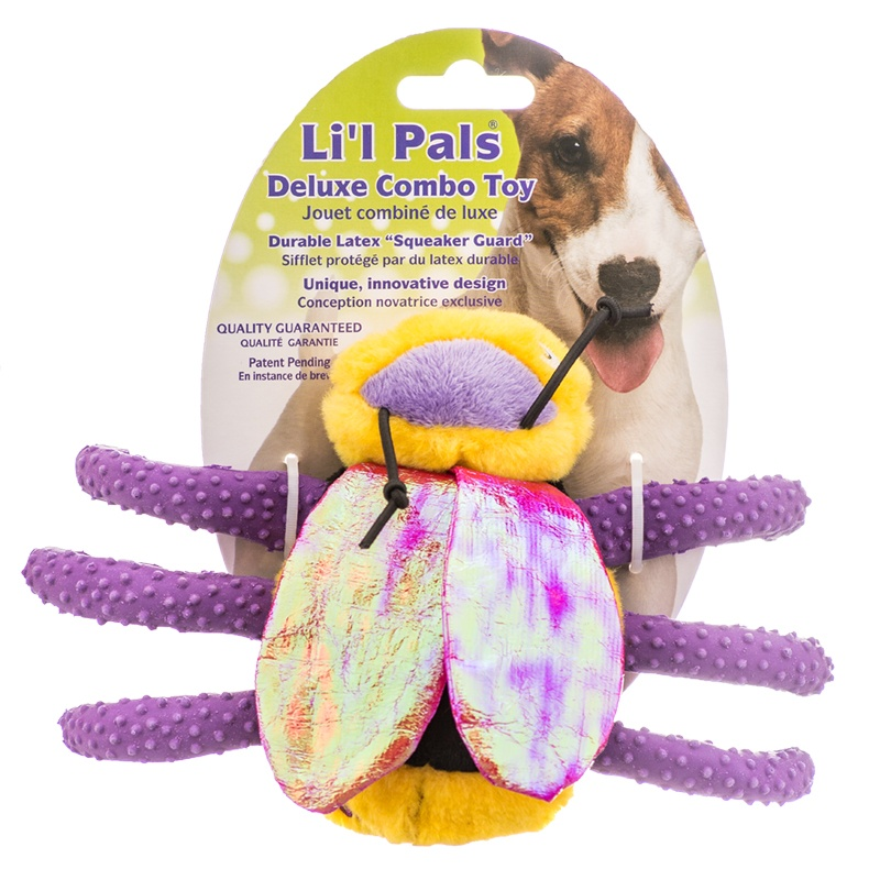 "Lil Pals Plush & Latex Bumble Bee Dog Toy 5"" Long x 8"" Wide"