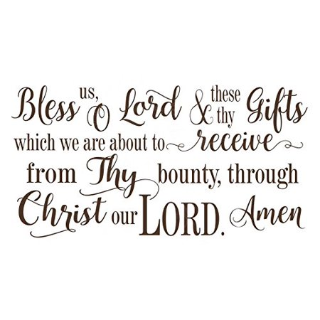 Wall Decal Bless Us O Lord.. Vinyl Lettering Wall Decal Religious Prayer Wall Words, 23x12 ,