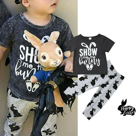 2PCS Easter Infant Toddler Kids Baby Boy Girl Bunny Tops T-Shirts Long Pants Outfits Clothes Summer Spring Clothing Set For 1-6 Years Old - Easter Baby Boy Outfits