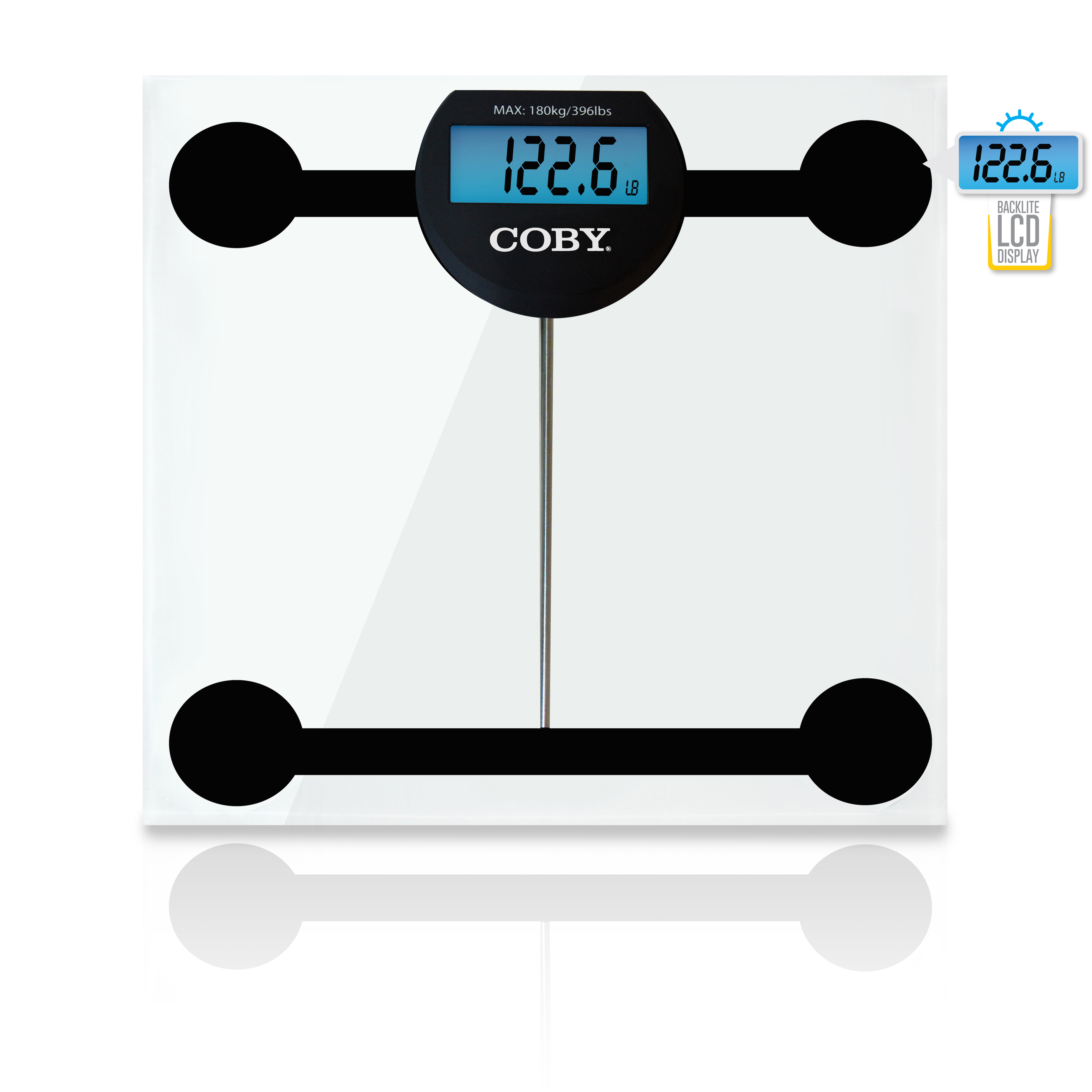 COBY Digital Bathroom Scale with Blue LCD Display