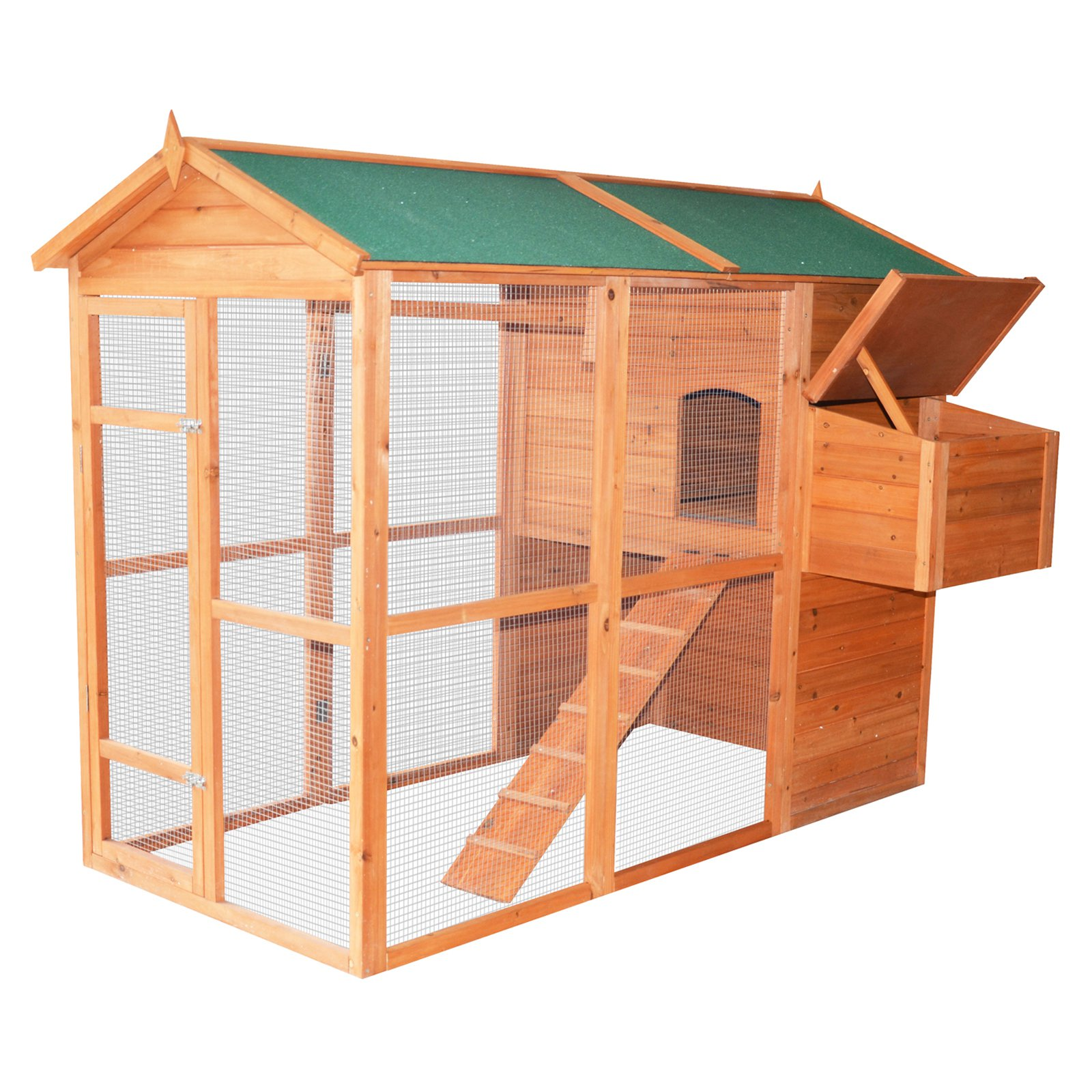 Pawhut Deluxe Large Backyard Chicken Coop/Hen House with Outdoor Run