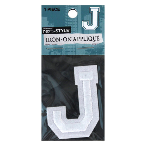 "Next Style Single Embroidery Letter, ""J"", White"