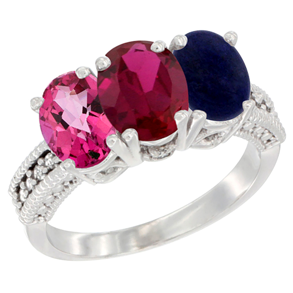 10K White Gold Natural Pink Topaz, Enhanced Ruby & Natural Lapis Ring 3-Stone Oval 7x5 mm Diamond Accent, sizes 5 10 by WorldJewels