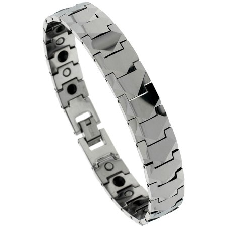 Tungsten Carbide Bracelet Magnetic Therapy Freeform Facets 1 2 Inch Wide