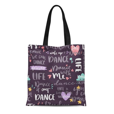 KDAGR Canvas Bag Resuable Tote Grocery Shopping Bags Lettering Phrase and Saying Dance Music Motivation Phrases Love Text Tote Bag](Halloween Phrases Sayings)