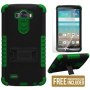 GREEN TRI-SHIELD SOFT SKIN HARD CASE STAND SCREEN PROTECTOR FOR LG G3 PHONE