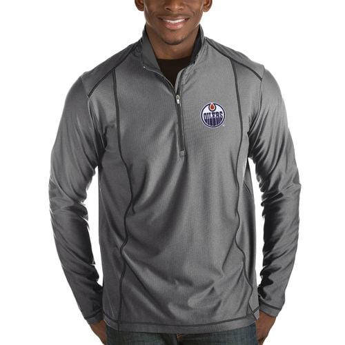 Men's Antigua Charcoal Edmonton Oilers Tempo Desert Dry 1/2-Zip Pullover Jacket