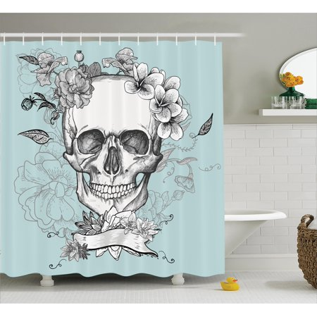 Turquoise Shower Curtain Set Skull And Flowers Day Of The Dead Mexican Traditional Celebration Symbolic