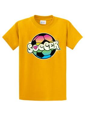Youth Soccer T-Shirt Neon Rainbow Soccer Ball-lime-ym