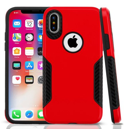brand new 1e1d8 6486c iPhone X Case Screen Protector, by Insten Dual Layer Hybrid PC/TPU Rubber  Case Cover for Apple iPhone X - Red/Black (Bundle with MFI Certified ...