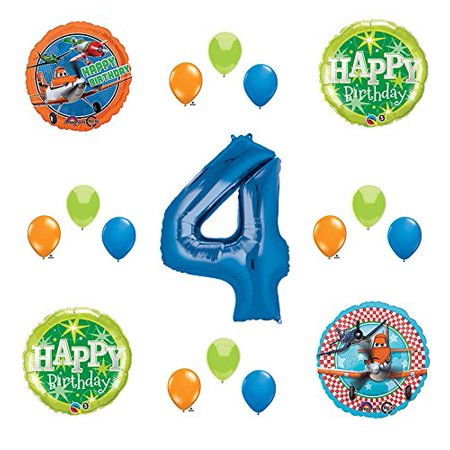 Disney Planes Party Supplies 4th Birthday Balloon Bouquet Decorations Blue 4