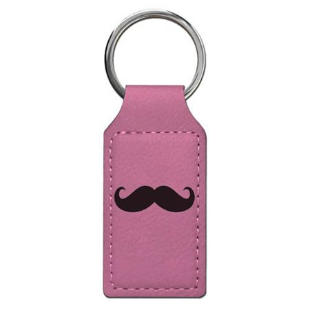 Keychain - Mustache - Personalized Engraving Included (Pink Rectangle)