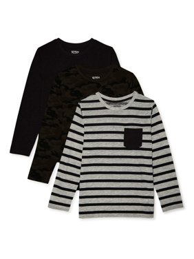 Seven Oaks Boys Multiprint Long Sleeve T-Shirt 3 Pack Sizes 8-18