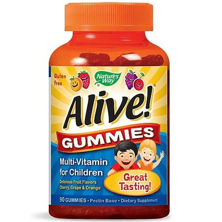 Natures Way Alive  Gummies Multi Vitamin For Children Cherry  Grape   Orange   90 Ct