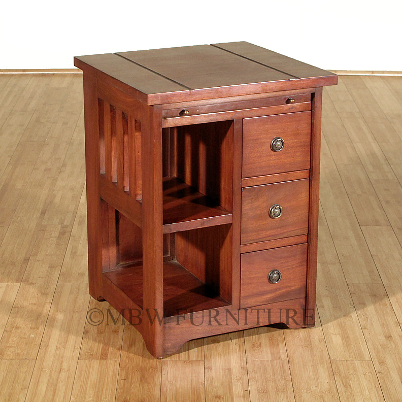 Distressed Solid Mahogany Mission 3-Drawer End Side Table