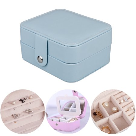 TSV Portable Travel Jewelry Box Organizer Earring Ring Holder Necklace Storage Case with Mirror (Pink / Purple / Dusty Blue)
