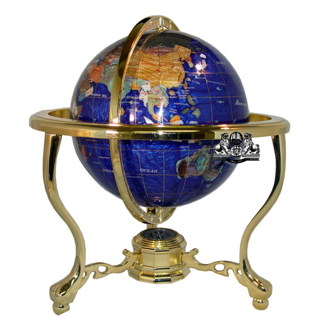 Unique Art 13-Inches Tall Table Top Blue Pearl Swirl Ocean Gemstone World Globe with Tripod Gold Leg Stand