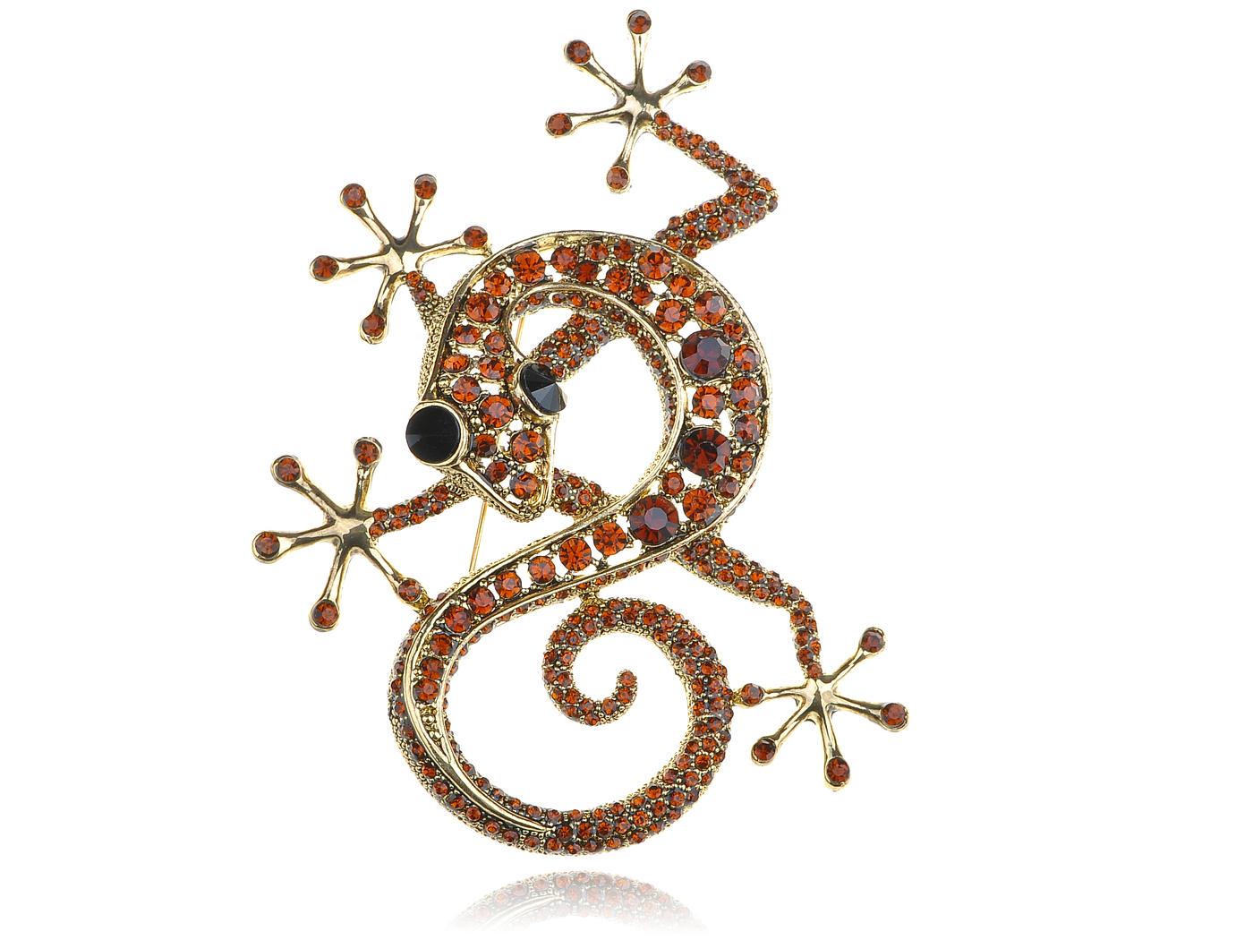 Red Ruby Crystal Rhinestone Gold Tone Gecko Lizard Reptile Animal Pin Brooch by