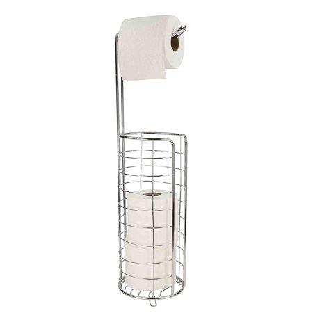 Home Basics Toilet Tissue Paper Holder and Dispenser Free Standing - - Chrome Toilet Paper
