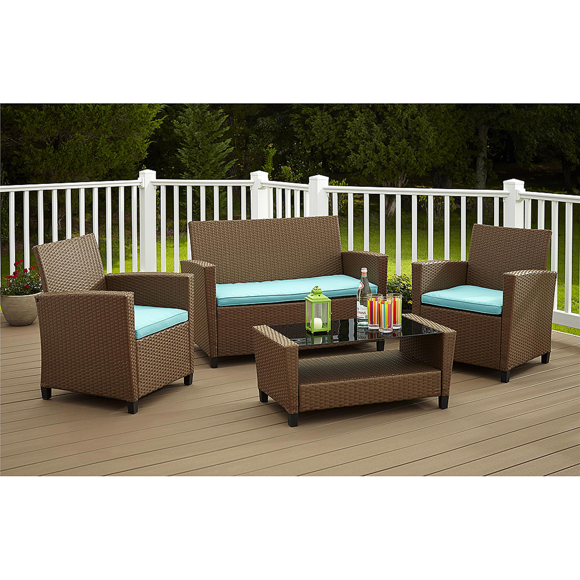 Cosco Outdoor Malmo 4-Piece Resin Wicker Patio Conversation Set, Brown