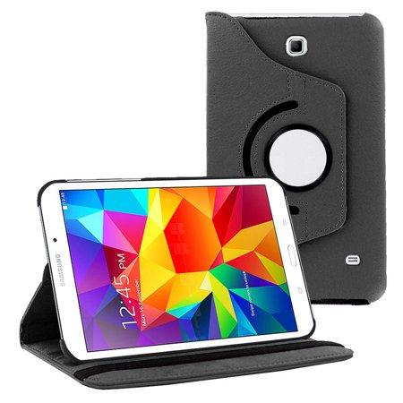Galaxy Tab 4 7.0 case by KIQ PU 360 Rotating Leather Stand Case Folio Flip Cover For Samsung Galaxy Tab 4 7.0 SM-T230 (Black) (Samsung Galaxy Tab 3 Flip Case)