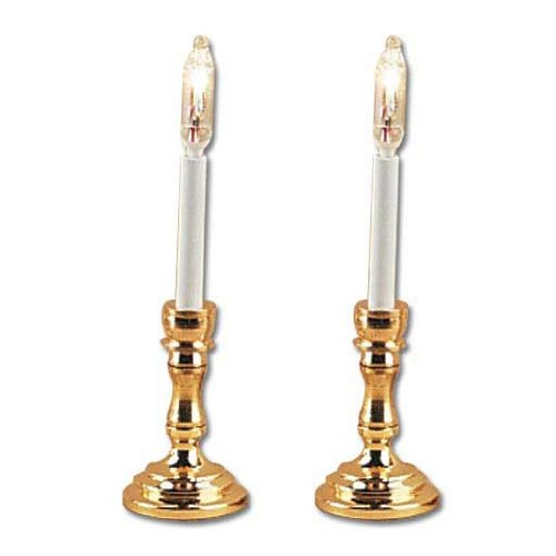 Pair Dollhouse Miniature Candlesticks Matal Candle  W Plastic Candles
