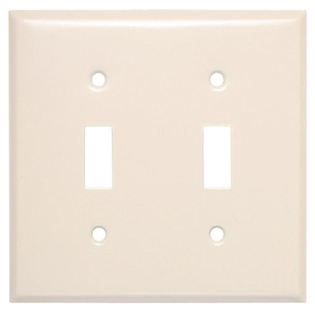 44072 2 Gang 2 Toggle Opening Steel Wall Plate, Almond - image 1 de 1