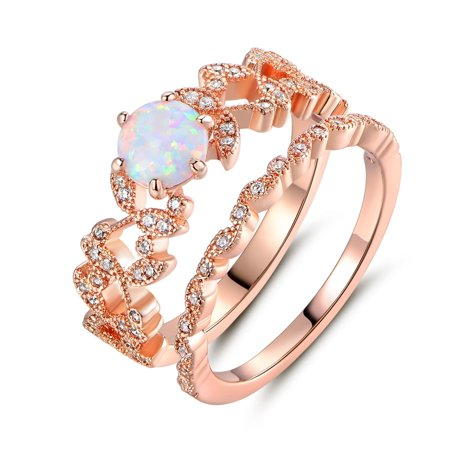 Rose Gold Plated Fire Opal & Cubic Zirconia Bridal Ring Set - N/A (Opal Set Ring)