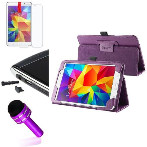 "Insten Purple Leather Stand Case+Matte Protector/Cap For Samsung Galaxy Tab 4 7.0 7"" SM-T230"
