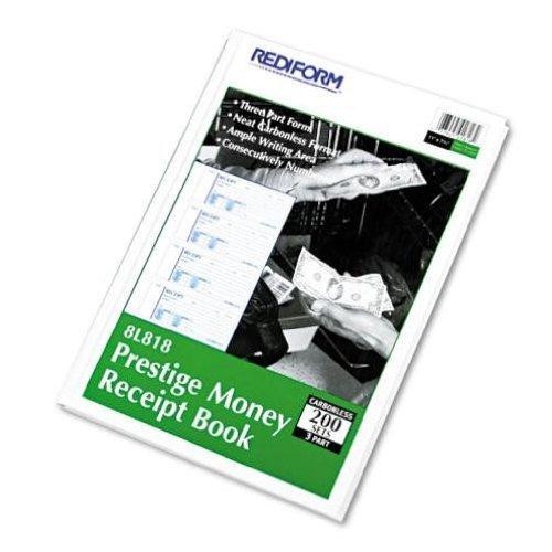 NEW - Money Receipt Book, 2 3/4 x 7, Carbonless Triplicate, 200 Sets/Book - 8L818