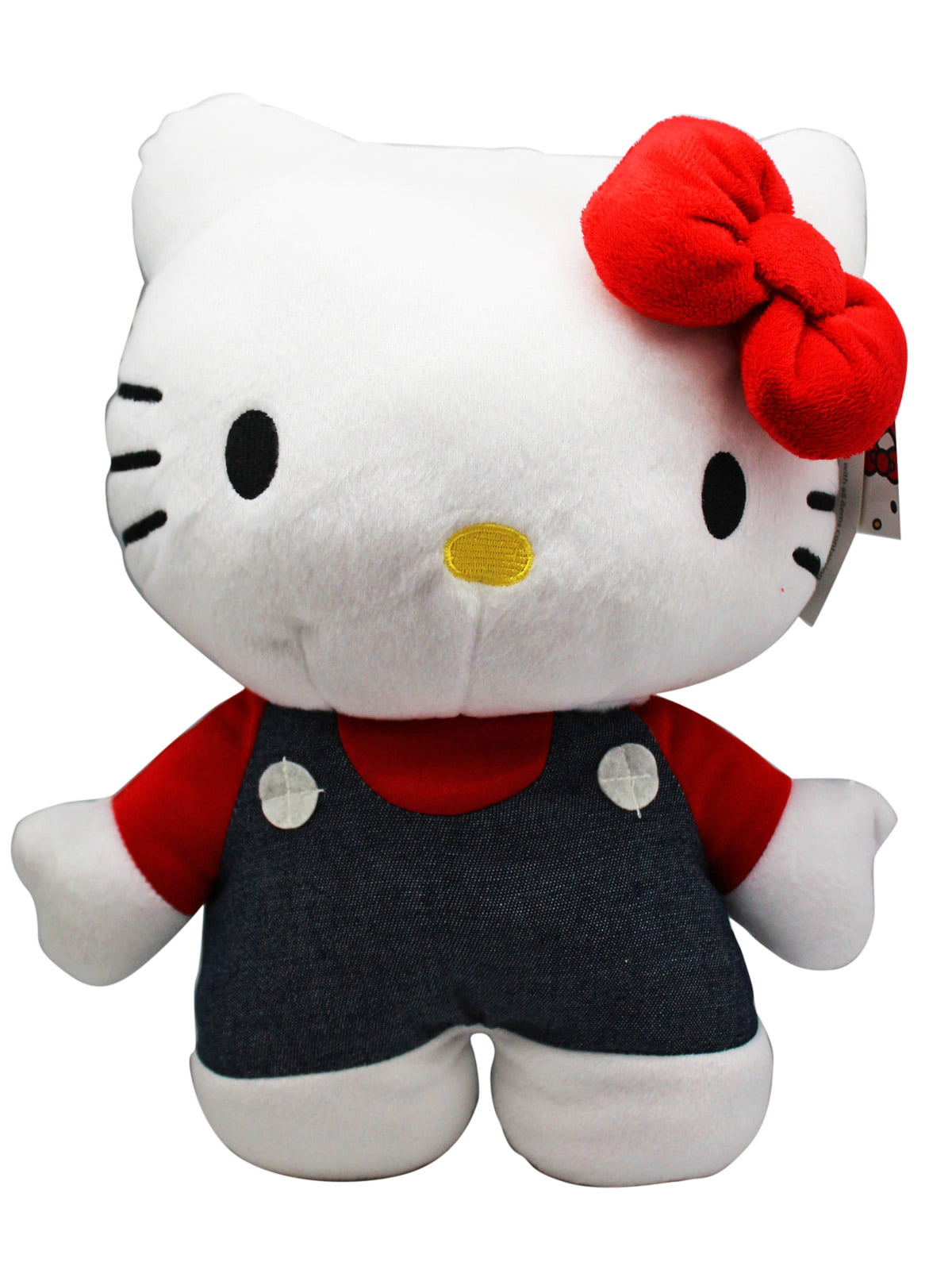 Sanrio's Hello Kitty Plush Toy With Overalls and a Secret Zipper Pocket (13in) by