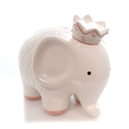 Personalized Baby Bank - Bank WHITE W/PINK COCO ELEPHANT BANK Ceramic Crown Baby 3781Pk