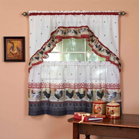 French Country Red Rooster (Achin Rooster Kitchen Curtain & Swag Set, 1 Each)