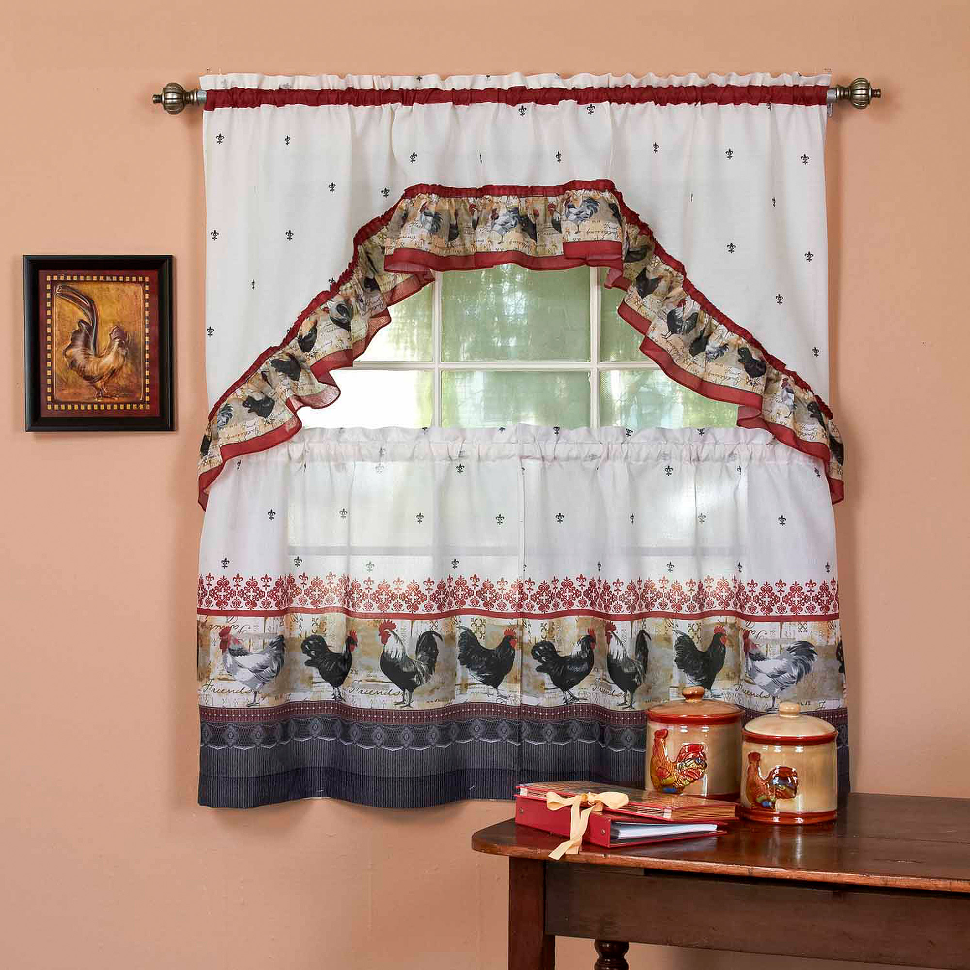 Kitchen Curtain and Swag Set, Rooster