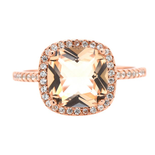 Simulated Morganite Cubic Zirconia Cushion Cut Ring Rose Gold-Toned Sterling Silver Size 6