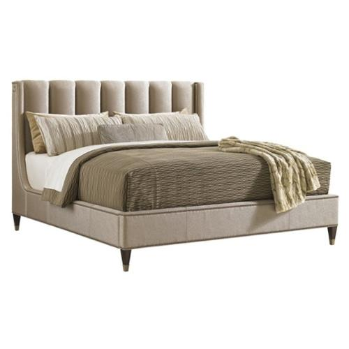 Lexington Tower Place Barrington Upholstered Platform Bed in Rose Gold-California King