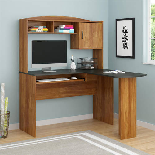 L Shaped Desk Images mainstays l-shaped desk with hutch, multiple finishes - walmart