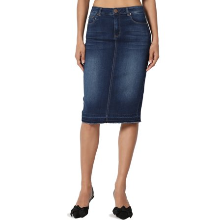 TheMogan Women's S~3X High Waist Soft Stretch Denim Butt Lift Pencil Midi Jean (Shirred Waist Pencil Skirt)