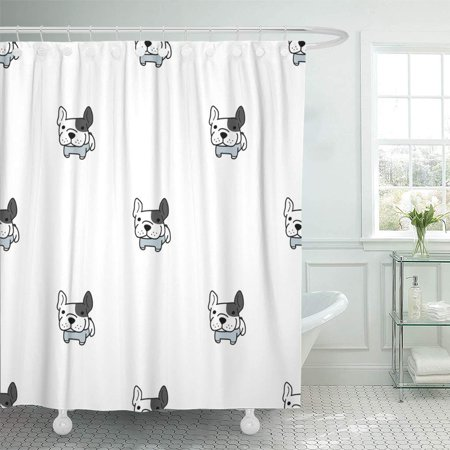 KSADK Abstract French Bulldog Animal Black Breed Cartoon Character Comic Cute Shower Curtain 66x72 inch