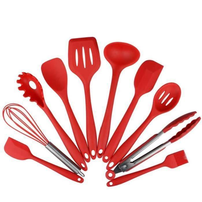 10pcs Silicone Kitchen Utensils Spoonula, Brush, Whip, Spatula, Ladle, Slotted Turner and Spoon, Flip Flops,... by
