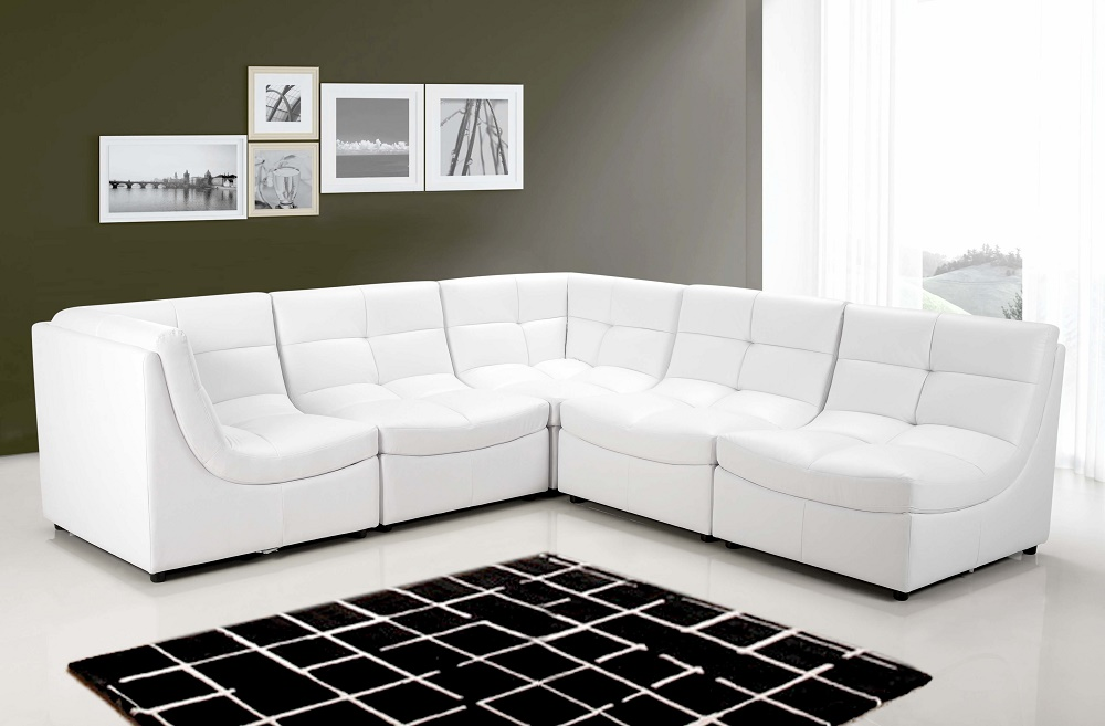 White Sectional Sofa Set Couch Bonded Leather Armless Chairs Corners  Ottoman Modern Living Room - Walmart.com