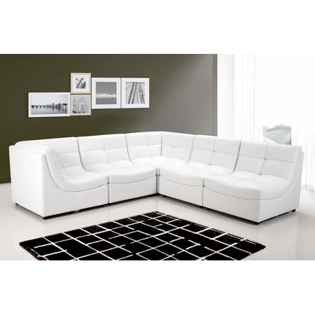 White Sectional Sofa Set Couch Bonded Leather Armless Chairs Corners ...